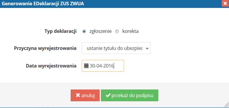 ifirma.pl program do księgowania - generowanie ZUS ZWUA