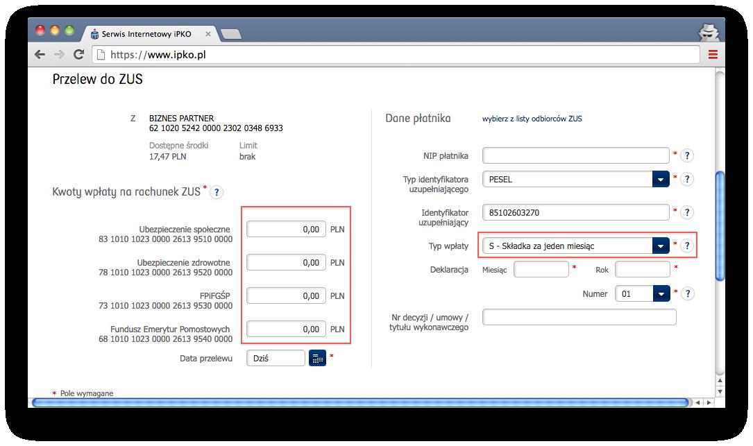 składki ZUS, przelewy online, PKO BP
