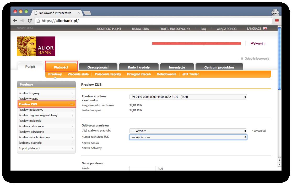 składki ZUS, przelewy online, Alior Bank
