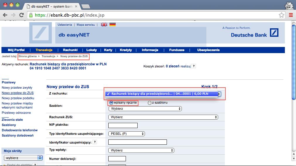 składki ZUS, przelewy online, Deutsche Bank