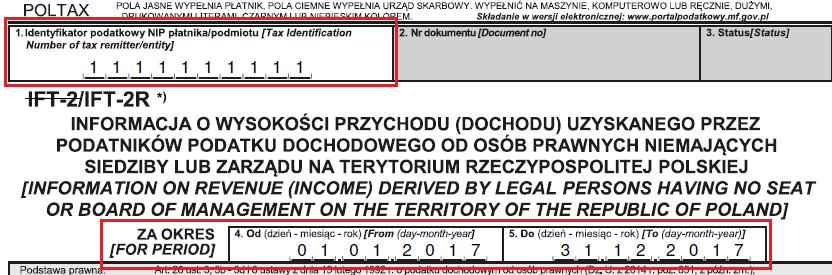 IFT-2R - dane wstępne