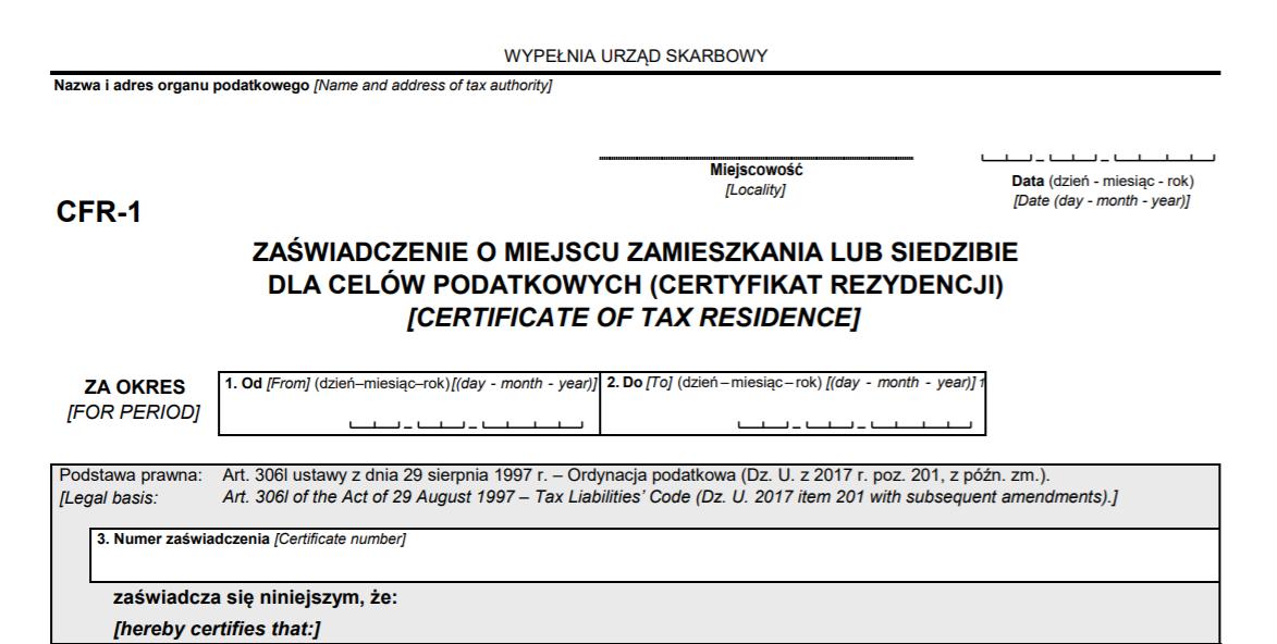 certyfikat rezydencji - zaświadczenie
