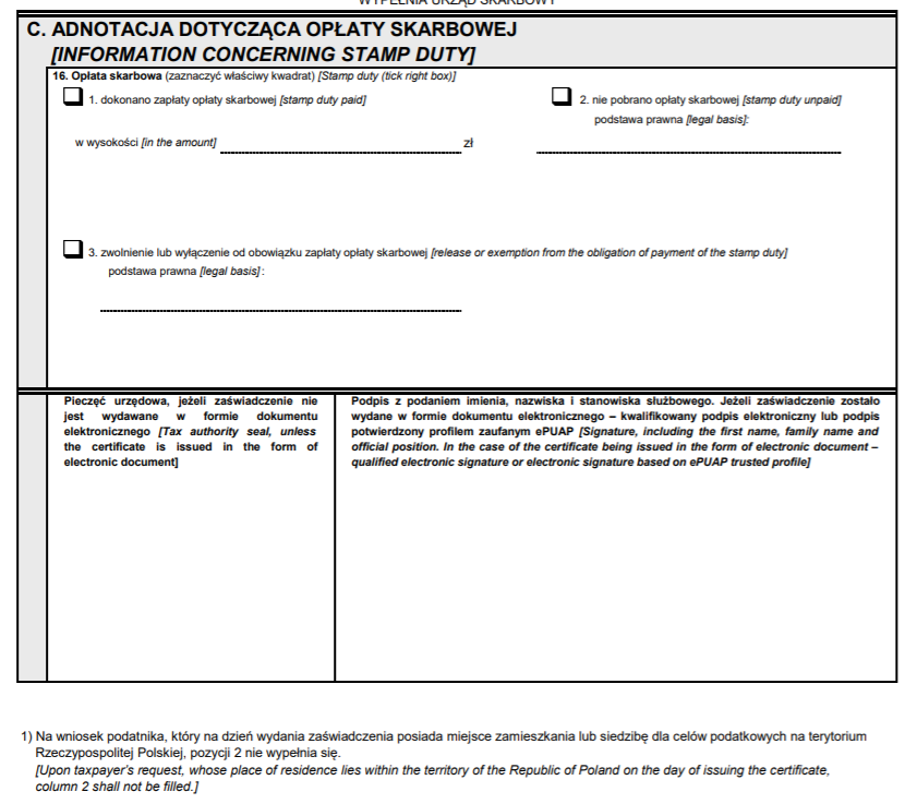 CFR-1 - adnotacja dotycząca opłaty skarbowej