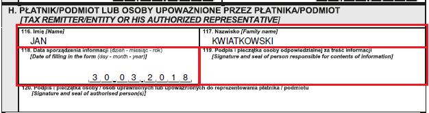 IFT-2R - data i podpis