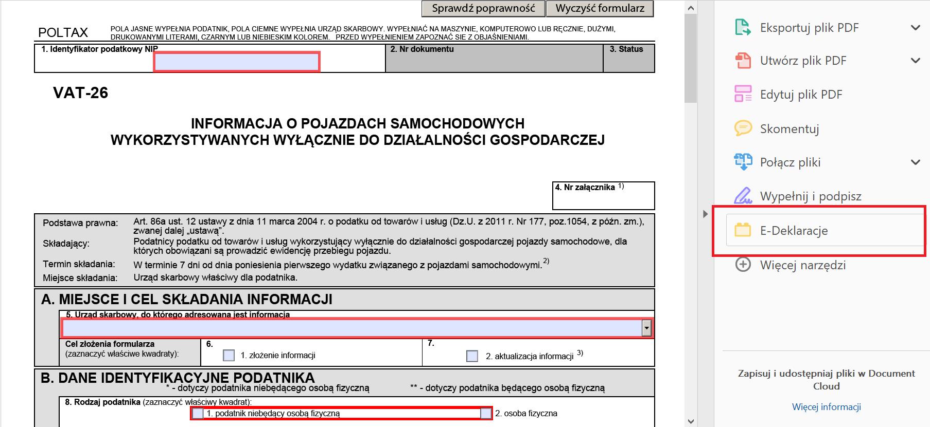 VAT-26 w wersji elektronicznej bez podpisu elektronicznego