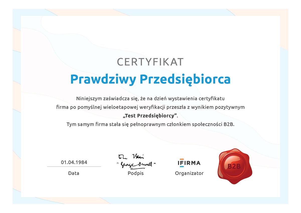 ifirma.pl program do księgowania - CertyfikatPrzedsiebiorcy