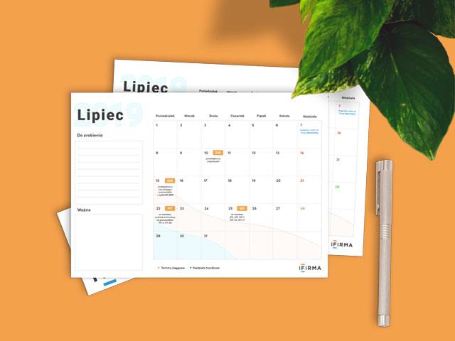 ifirma.pl program do księgowania - Planer lipiec 2019