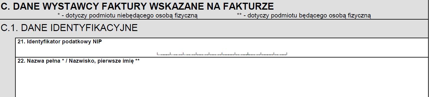 ZAW-NR dane wystawcy faktury