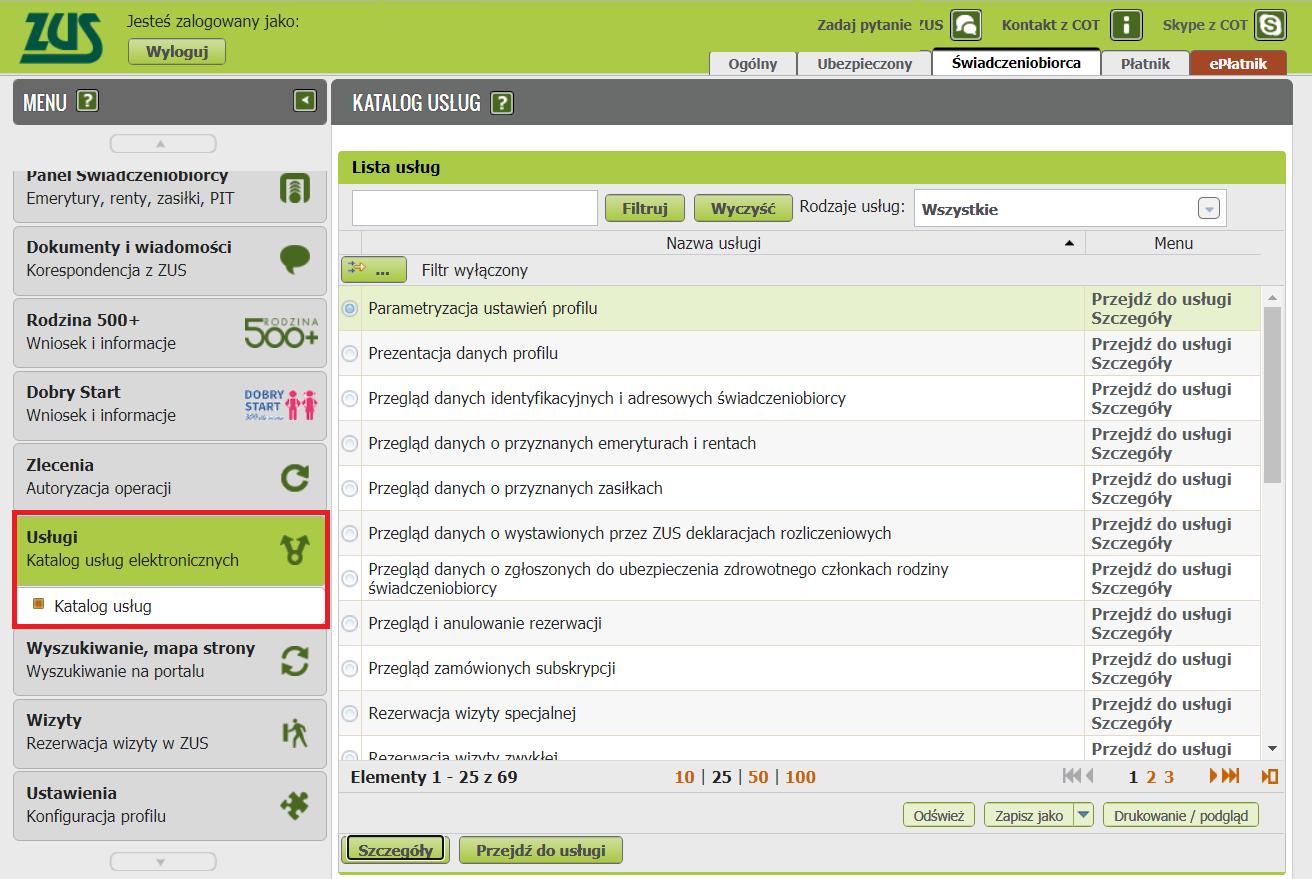 Katalog usług elektronicznych w PUE