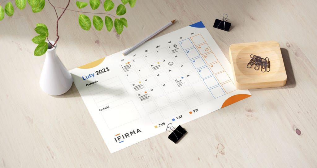 Kalendarz przedsiębiorcy luty 2021 + planer do druku