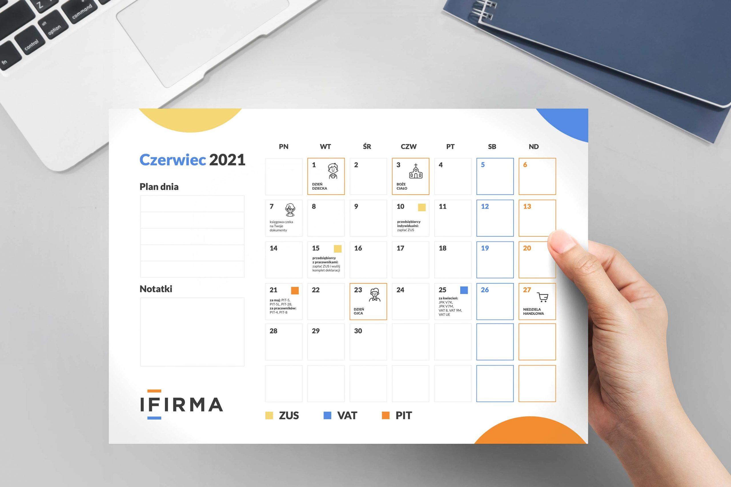 Kalendarz przedsiębiorcy + planer czerwiec 2021