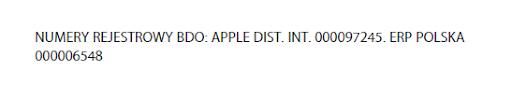 apple numer rejestrowy